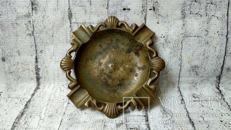 Пепельница бронза,16 см, фото №2