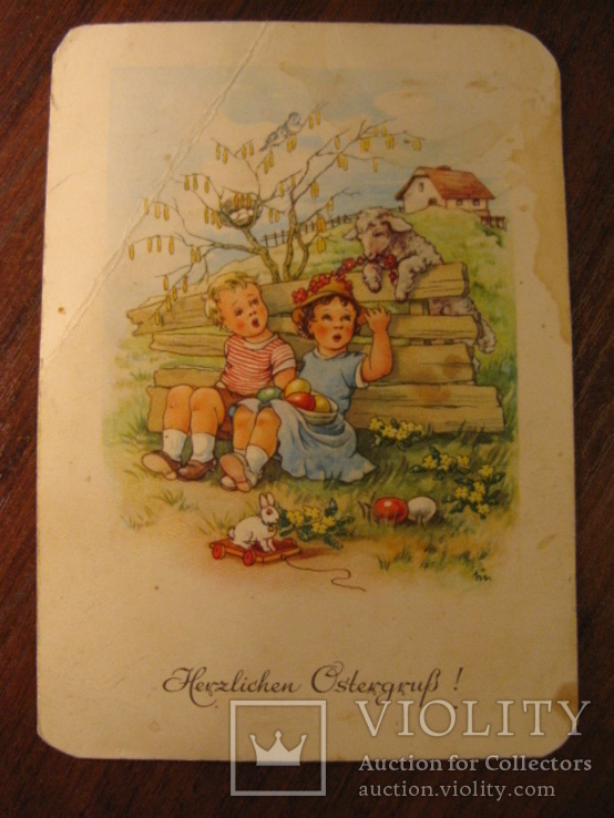 Старая немецкая открытка, Herzlichen Cstekgrus, Теплые пожелания, фото №2