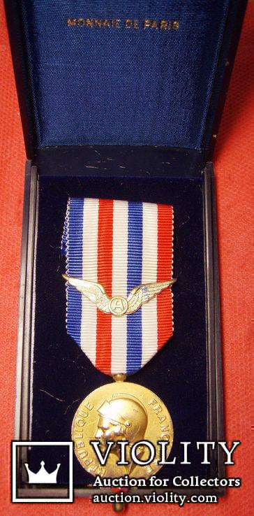 Франция Медаль почёта аэронавтики серебро, позолота, фото №2