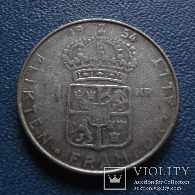1 крона 1954  Швеция  серебро  (N.3.4)~, фото №2
