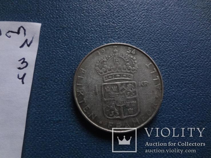 1 крона 1954  Швеция  серебро  (N.3.4)~, фото №4