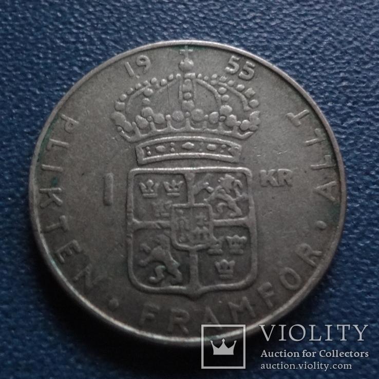 1 крона 1955  Швеция  серебро  (N.3.3)~, фото №2