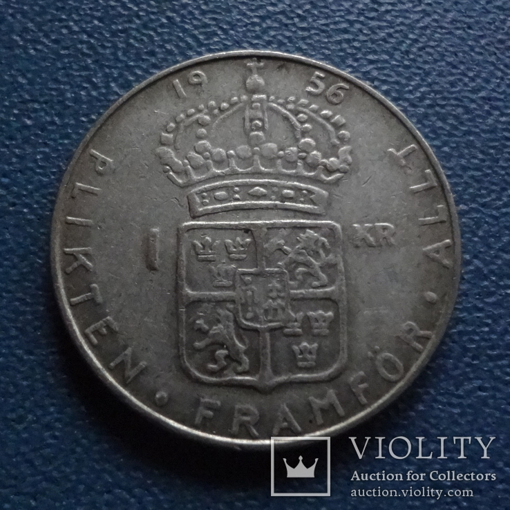 1 крона 1956  Швеция  серебро  (N.2.12)~, фото №2