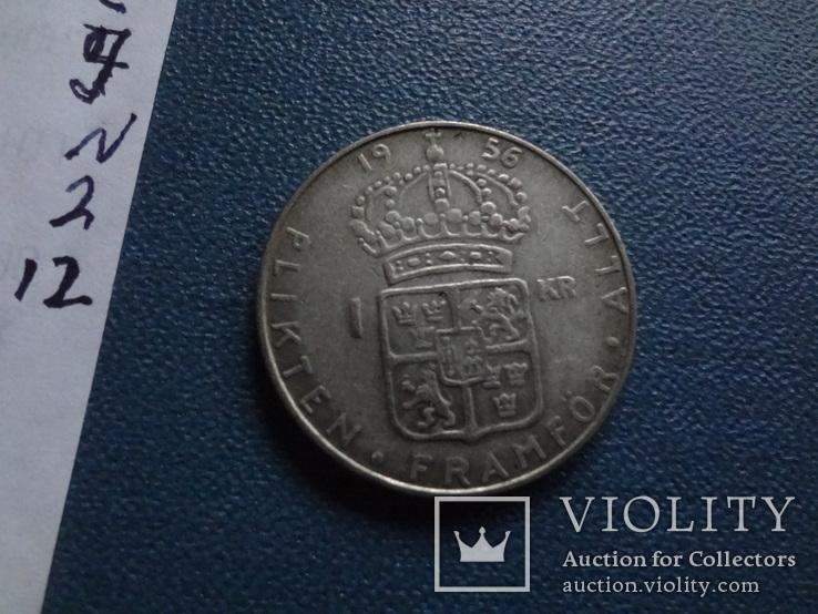 1 крона 1956  Швеция  серебро  (N.2.12)~, фото №4