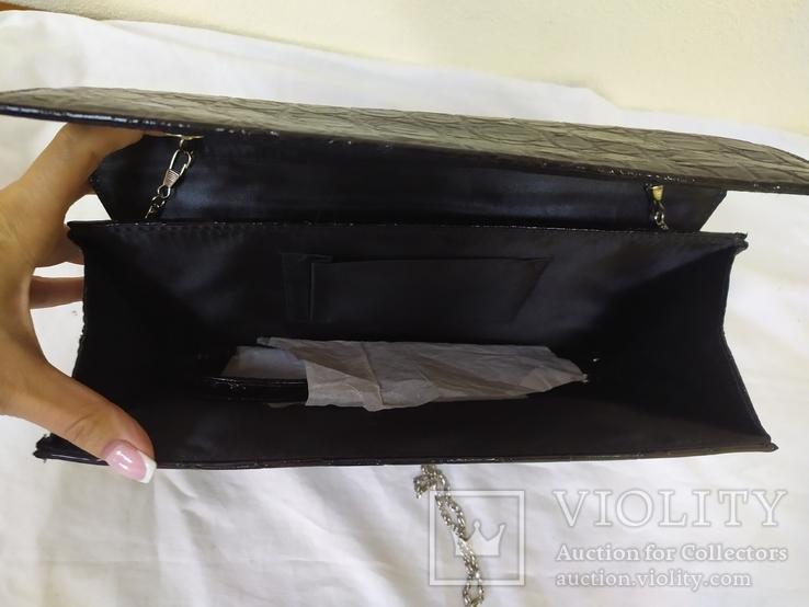 Вечерняя лаковая сумочка клатч. Новая, фото №7