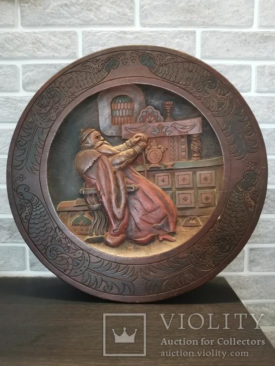 Деревянная тарелка большая, фото №2
