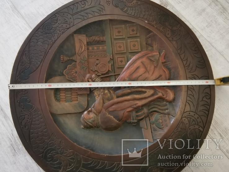 Деревянная тарелка большая, фото №8
