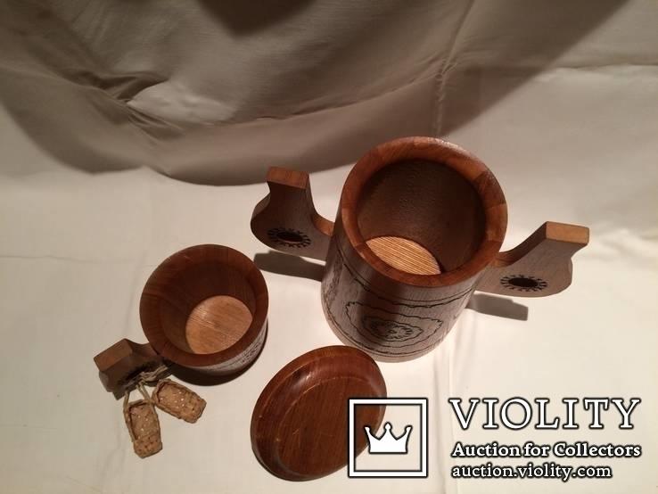 Декоративные деревянная кружка и бочонок., фото №5