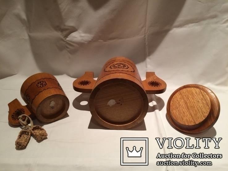 Декоративные деревянная кружка и бочонок., фото №7