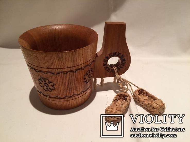 Декоративные деревянная кружка и бочонок., фото №8