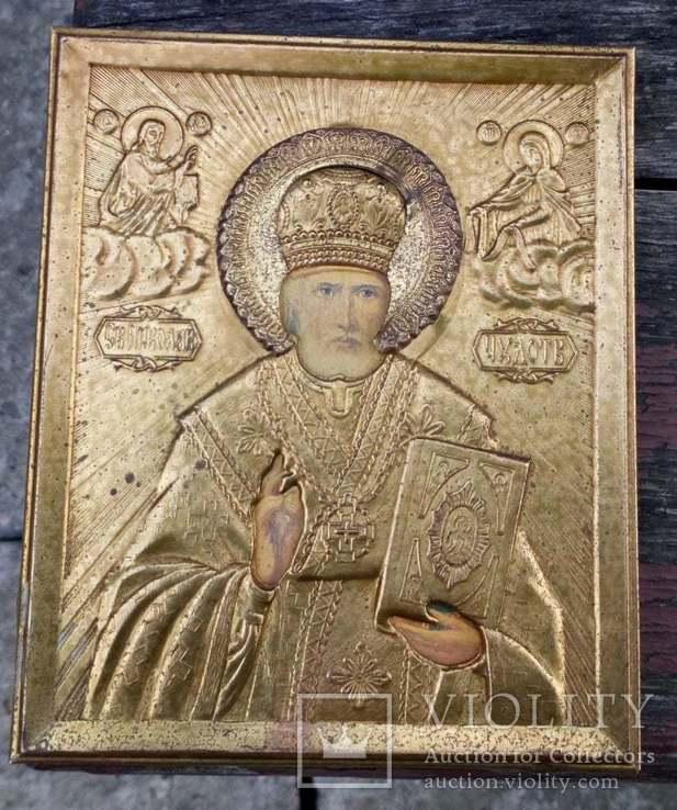 Икона Св. Николай Чудотворец оклад  11х 13 см, фото №2
