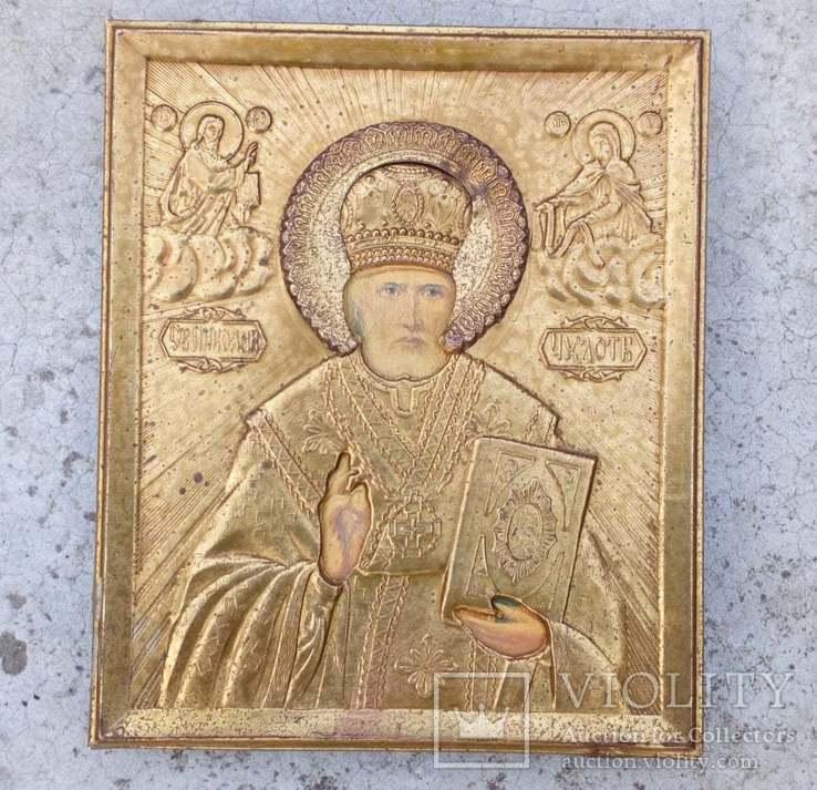 Икона Св. Николай Чудотворец оклад  11х 13 см, фото №4