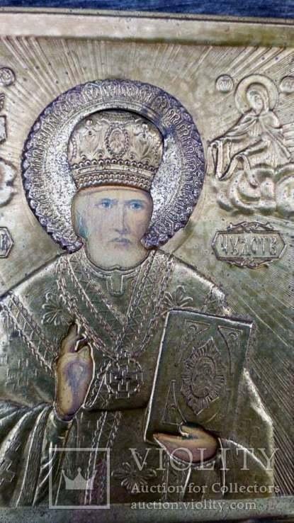 Икона Св. Николай Чудотворец оклад  11х 13 см, фото №6