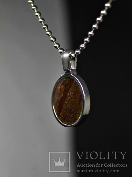 Підвіска із залізо-кам'яним метеоритом Seymchan, із сертифікатом автентичності, фото №4