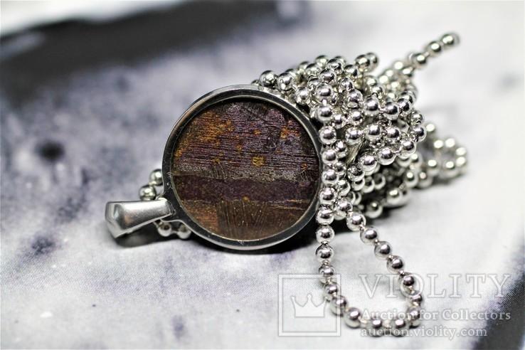 Підвіска із залізо-кам'яним метеоритом Seymchan, із сертифікатом автентичності, фото №8