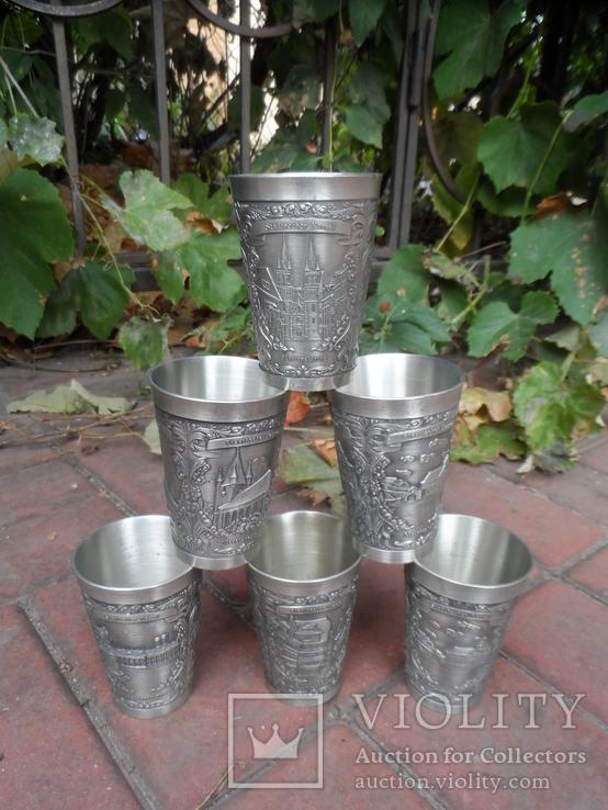 Набор стаканов Города Пищевое олово Клеймо Германия Вес 800 гр, фото №3