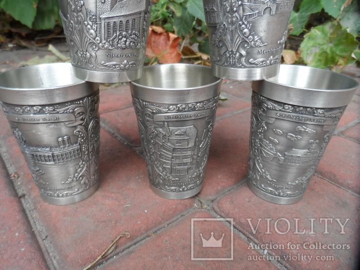 Набор стаканов Города Пищевое олово Клеймо Германия Вес 800 гр, фото №4