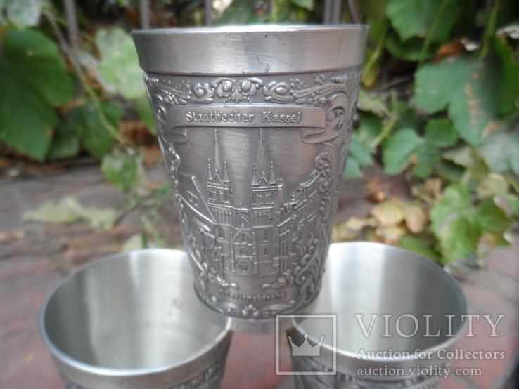 Набор стаканов Города Пищевое олово Клеймо Германия Вес 800 гр, фото №6