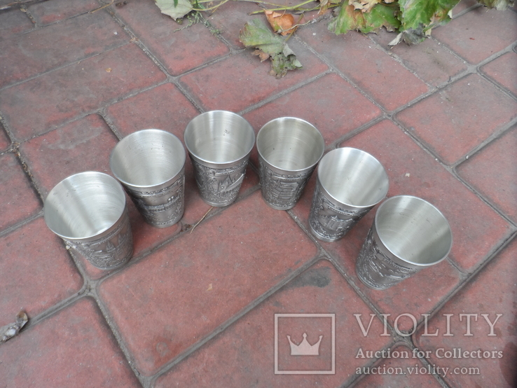 Набор стаканов Города Пищевое олово Клеймо Германия Вес 800 гр, фото №10