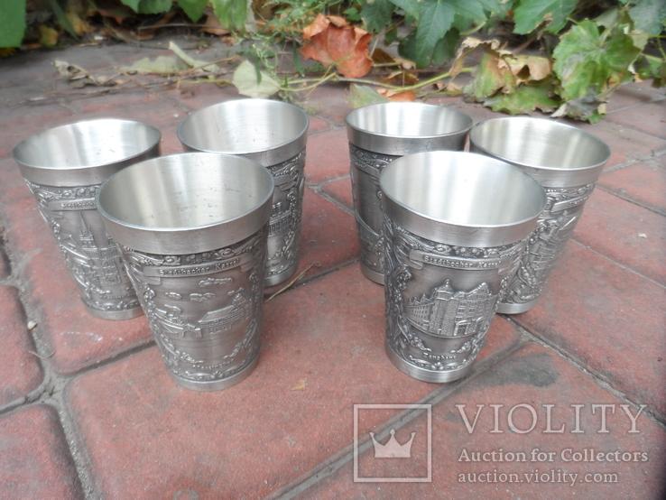 Набор стаканов Города Пищевое олово Клеймо Германия Вес 800 гр, фото №12