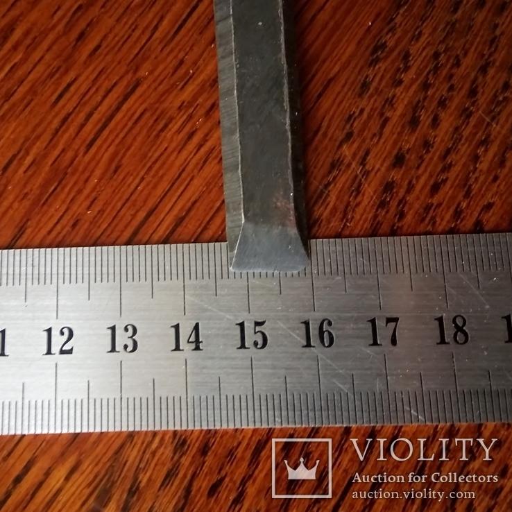 Стамеска советская 12 мм новенькая без заточки деревянная ручка, фото №3