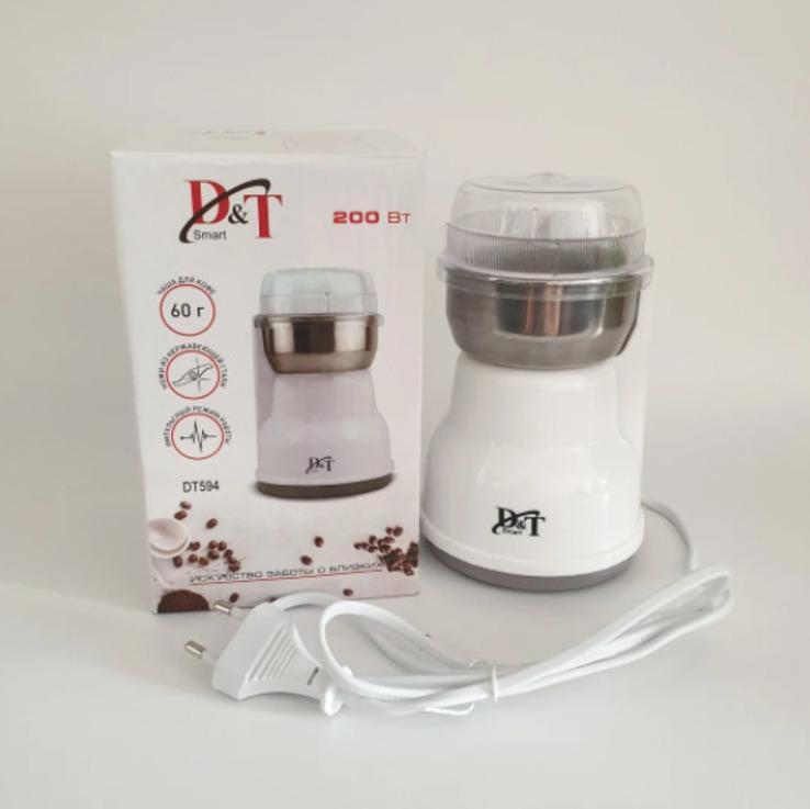 Кофемолка бытовая измельчитель нержавеющая сталь D&T Smart DT-594 200Вт, фото №4