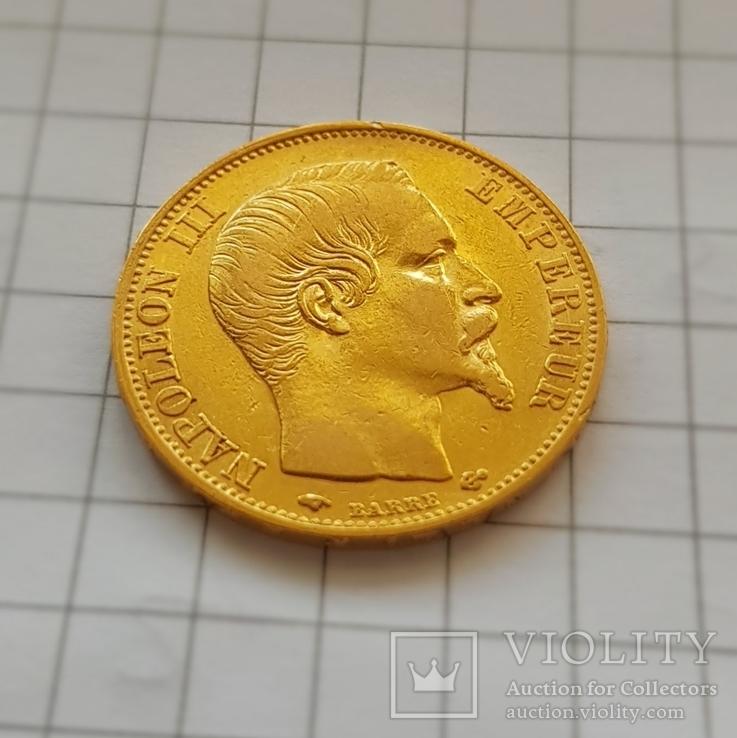 Франция, 20 франков 1858г., золото 6,45г., фото №3