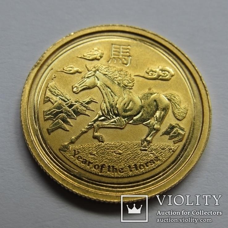 25 долларов 2014 г. Австралия лунар (1/4 oz 999,9) Лошадь, фото №2