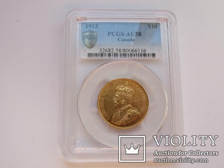 10 долларов 1913 г. Канада (AU58), фото №6
