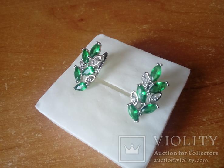 Сережки нові із зеленими вставками, фото №4