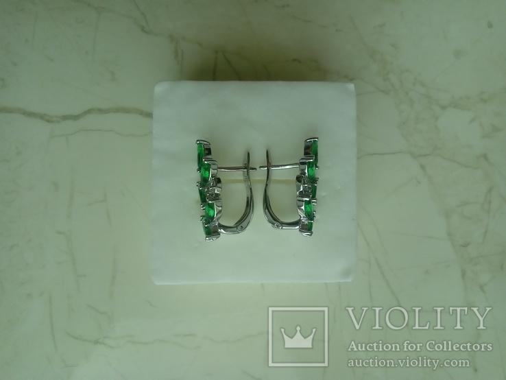 Сережки нові із зеленими вставками, фото №5