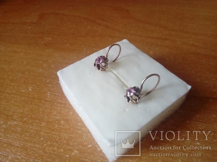 Сережки срібні 875 з позолотою СССР, фото №7