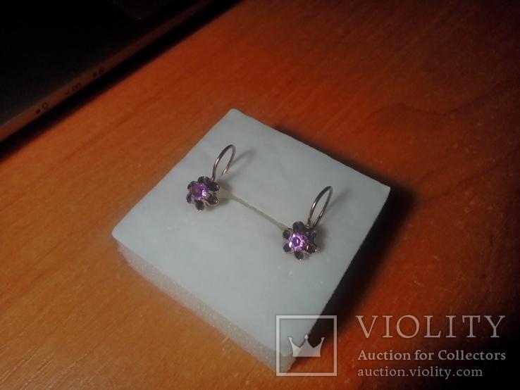 Сережки срібні 875 з позолотою СССР, фото №12