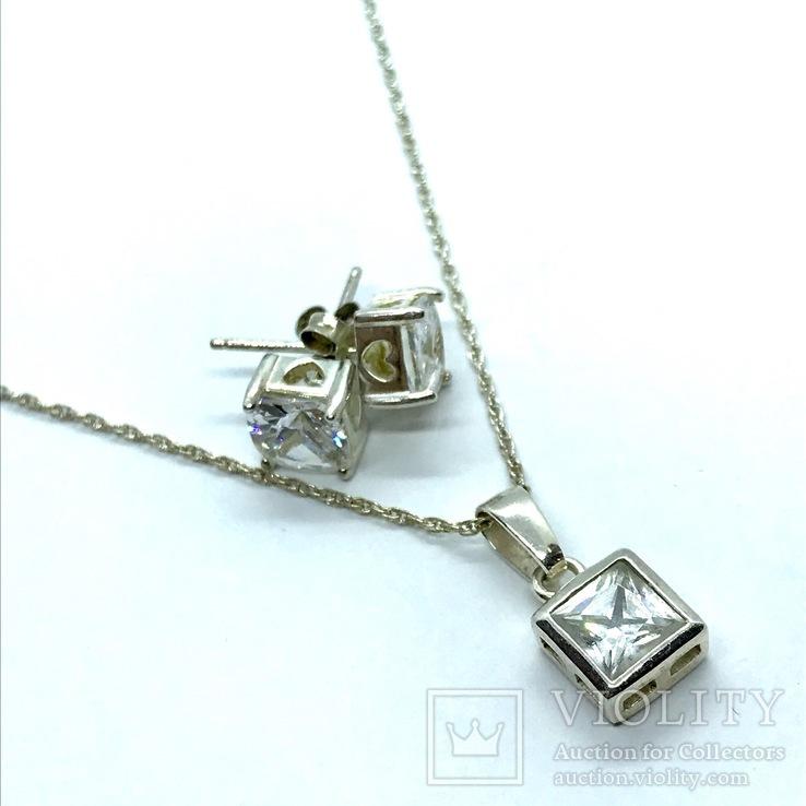 Серьги и подвес серебро на цепочке, фото №2