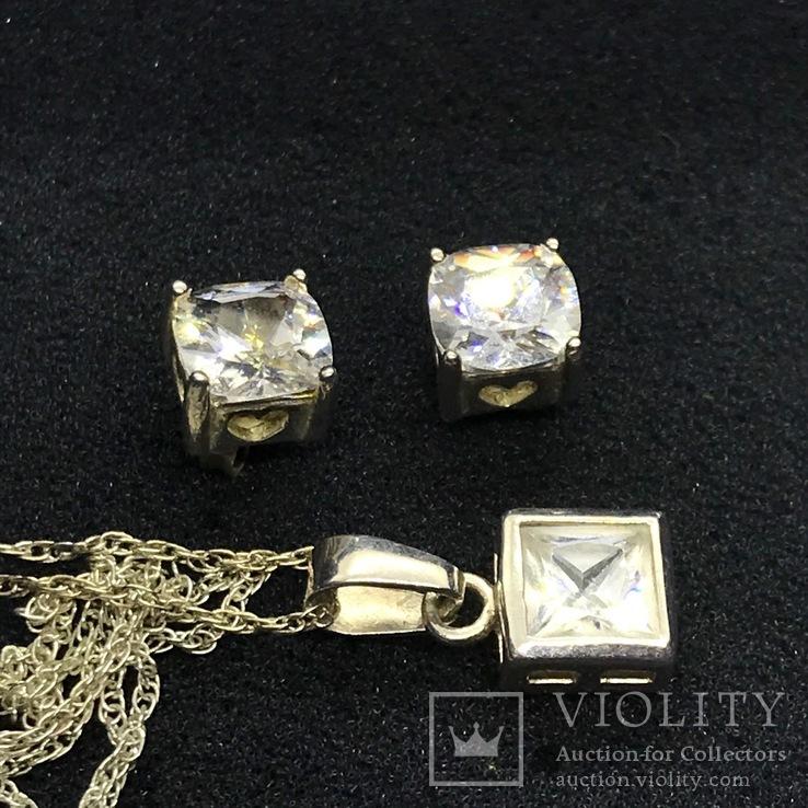 Серьги и подвес серебро на цепочке, фото №4