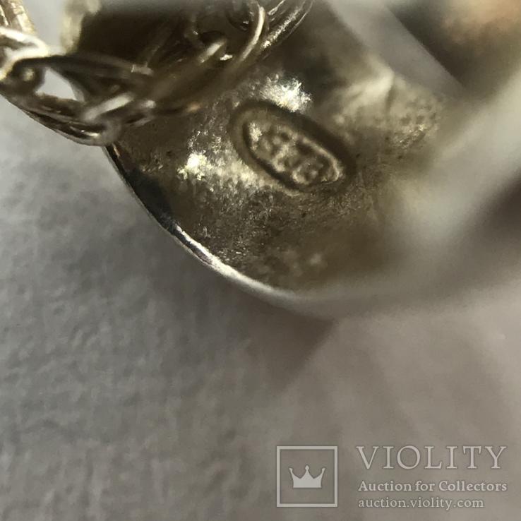 Серьги и подвес серебро на цепочке, фото №6