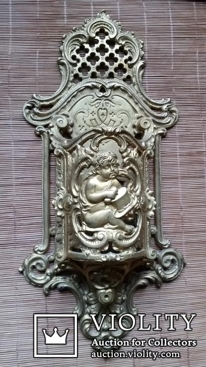 Настінний тримач щітки, бронза, Н37,5 см, фото №2