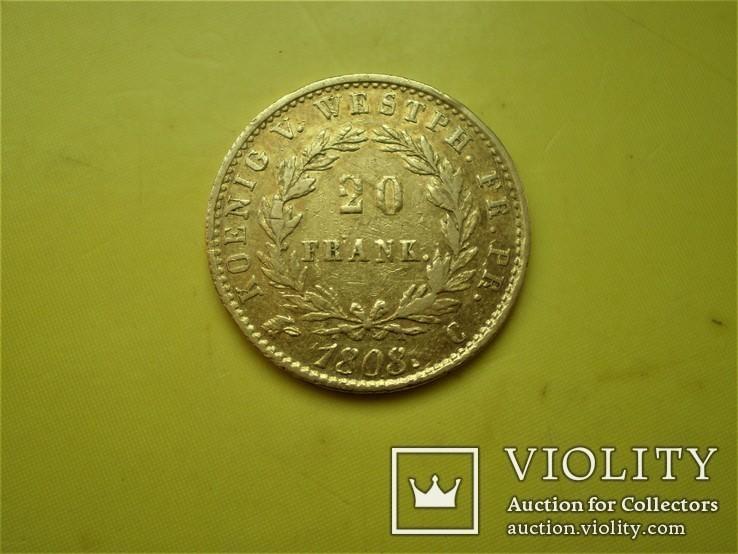 20 франков 1808 г. Вестфалия. Германия(1), фото №3