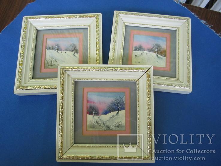 Картины миниатюры акварель 3 шт., фото №2