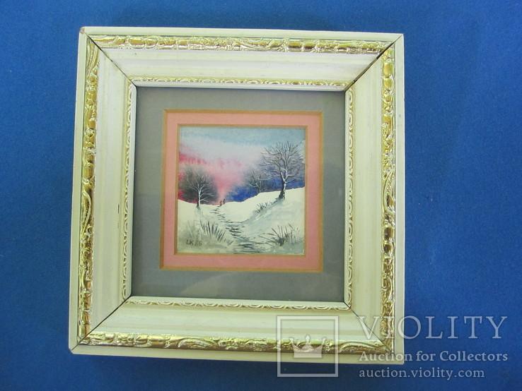 Картины миниатюры акварель 3 шт., фото №3