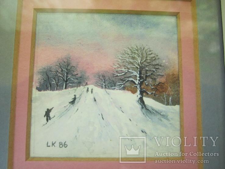 Картины миниатюры акварель 3 шт., фото №8