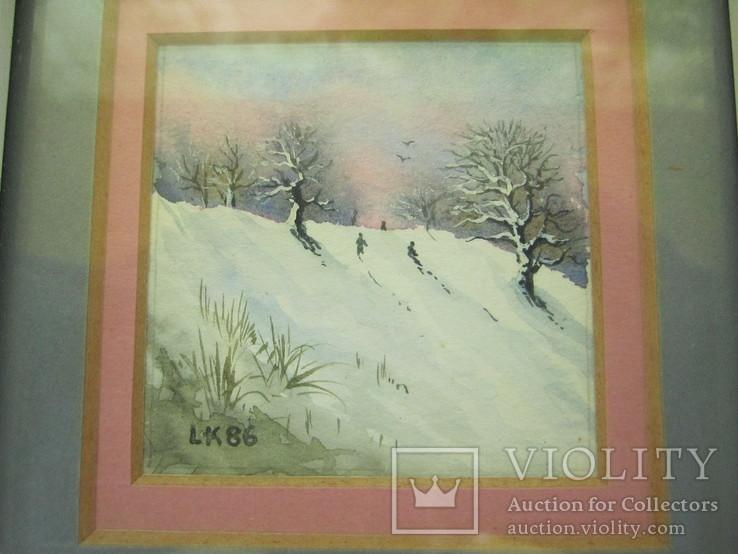 Картины миниатюры акварель 3 шт., фото №11