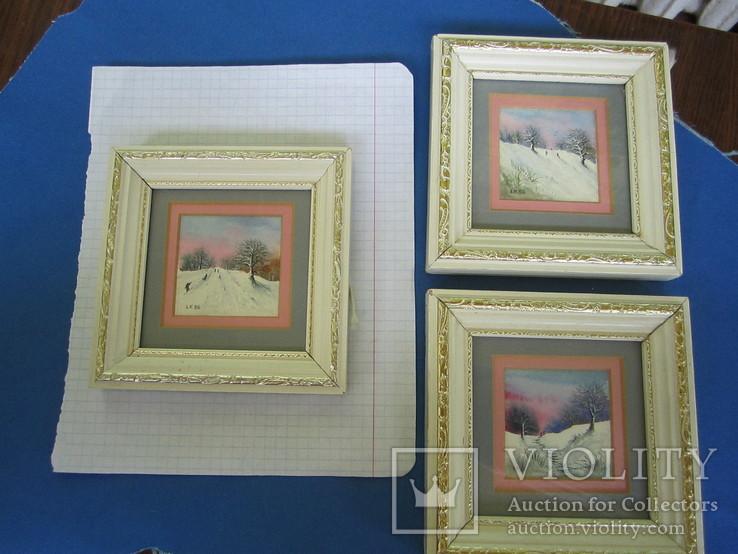 Картины миниатюры акварель 3 шт., фото №13