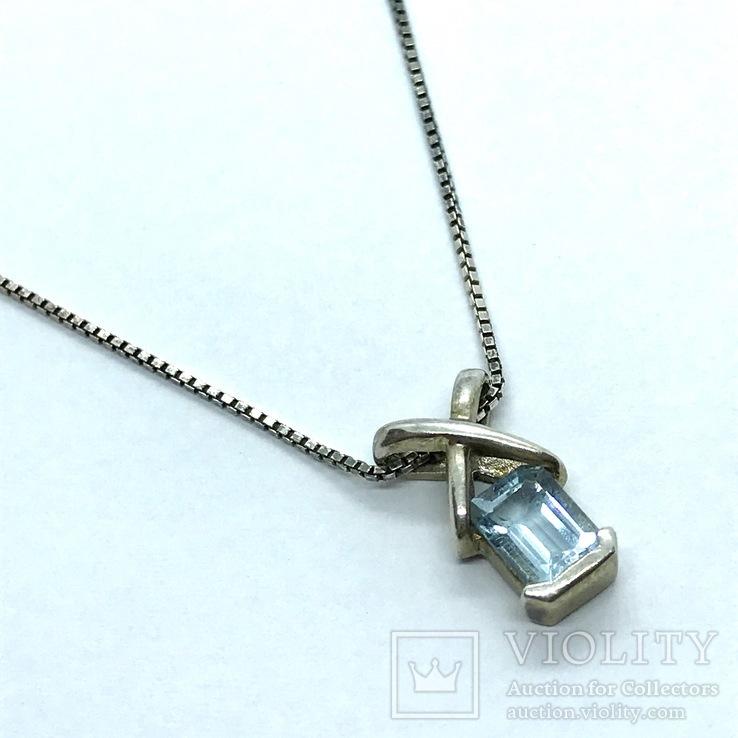 Подвес серебро с топазом на цепочке, фото №2