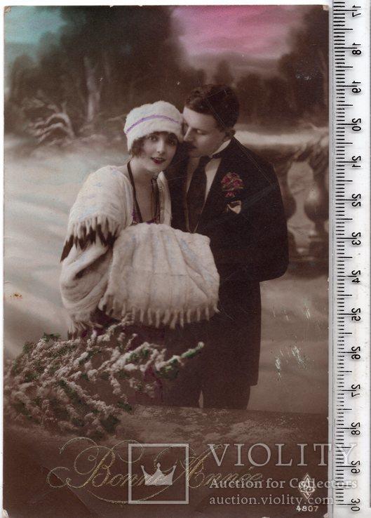 Старинная открытка. 1921 год. Романтика.(3), фото №2