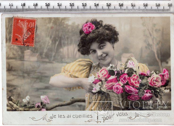 Старинная открытка. 1907 год. Романтика.(3), фото №2