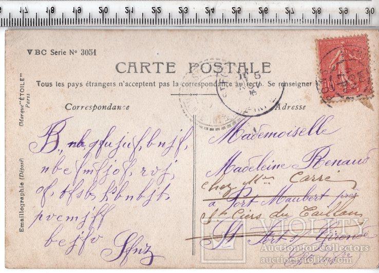 Старинная открытка. 1908 год. Романтика.(3), фото №3