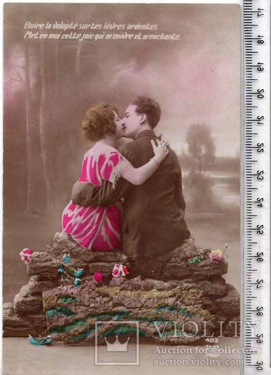 Старинная открытка. До 1945 годa. Романтика.(3), фото №2