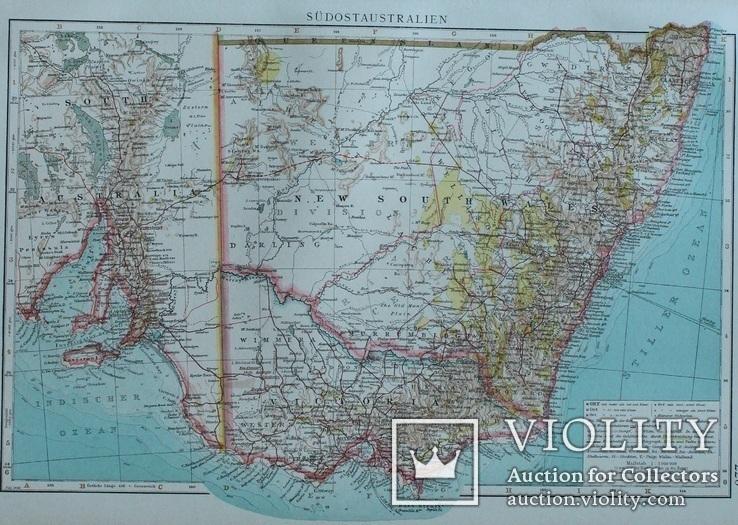 3 карты. Океания, Австралия. Andrees HandAtlas. 1921 год. 56 на 44 см (3)., фото №4