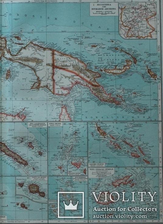 3 карты. Океания, Австралия. Andrees HandAtlas. 1921 год. 56 на 44 см (3)., фото №8